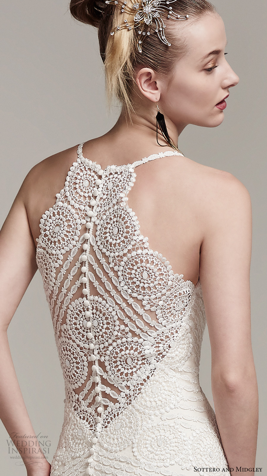 sottero midgley fall 2016 bridal sleeveless spagetti strap scallop sweetheart neckline full embellishment romantic fit and flare wedding dress lace illusion back sweep train (bexley) zbv