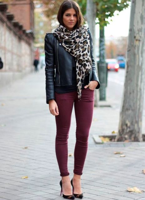 With leather jacket, leopard scarf and pumps