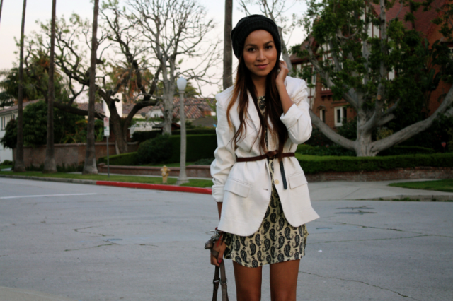 With printed mini dress and beanie