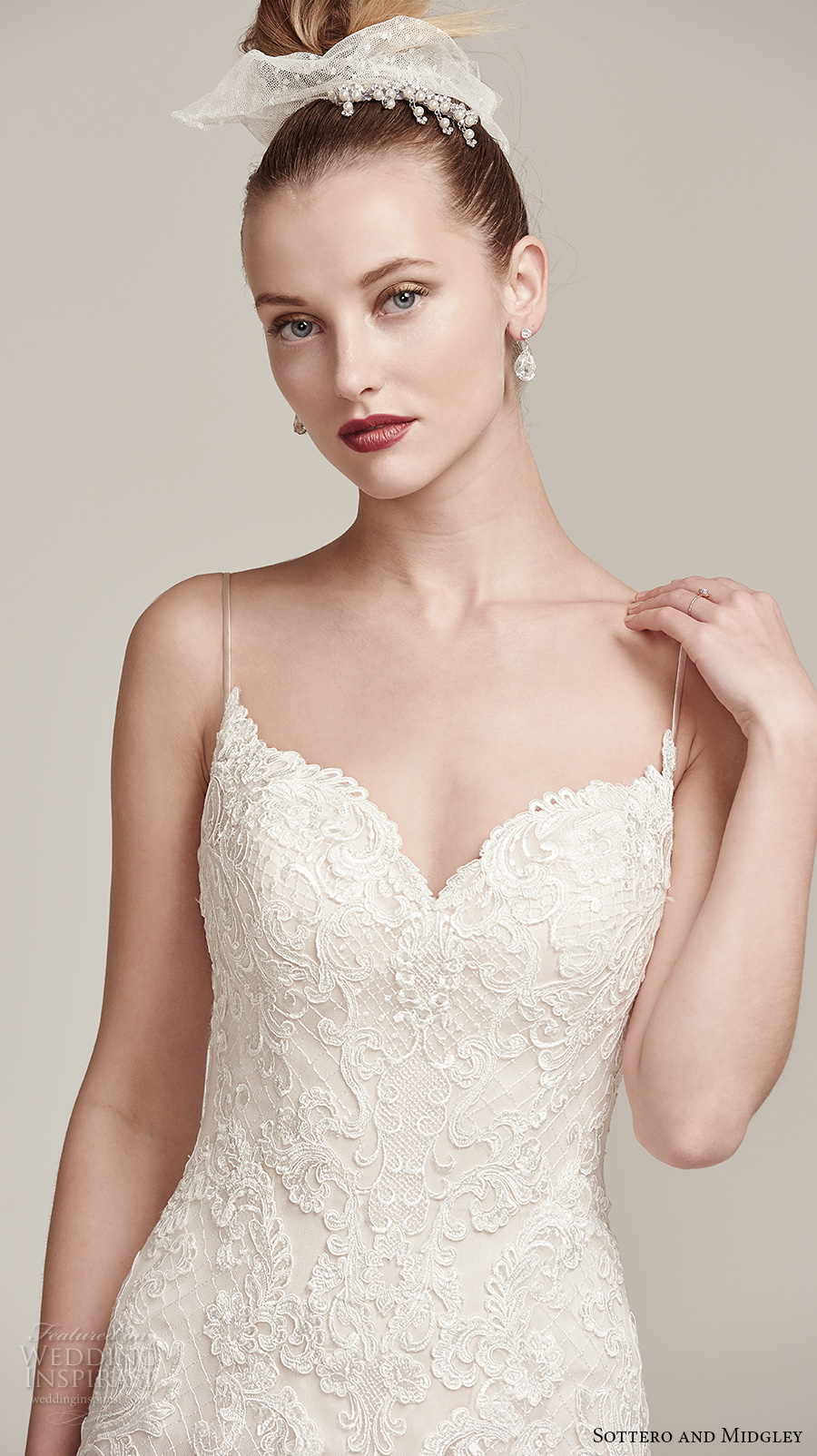 sottero midgley fall 2016 bridal sleeveless spagetti strap sweetheart neckline full embellishment romantic modified a line wedding dress sweep train (parker) zv