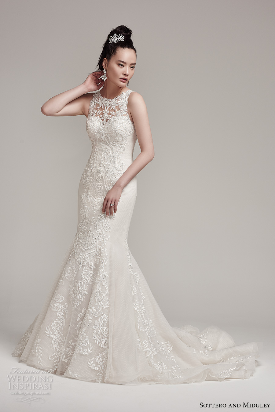 sottero midgley fall 2016 bridal sleeveless illusion jewel neck sweetheart neckline full embellishment classic elegant mermaid wedding dress illusion back chapel train (rae) mv