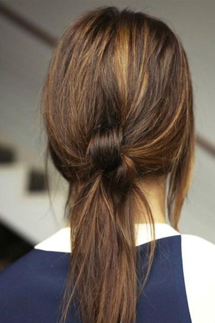 knotted low ponytail is cool and simple for casual situations