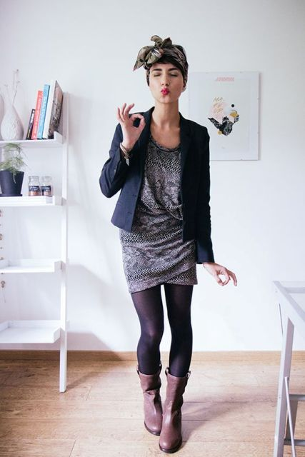 With mini printed dress, jacket and black tights