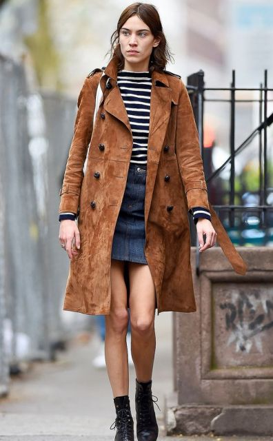 With striped shirt, denim skirt and boots