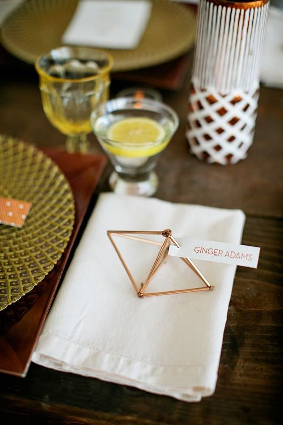 geo copper place card holders and favors