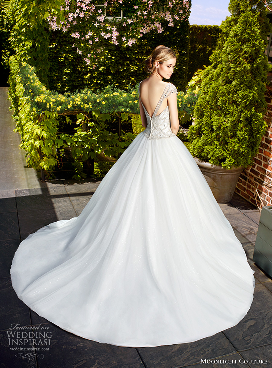 moonlight couture spring 2017 bridal cap sleeves sweetheat neckline heavily embellished bodice glamorous romantic a line wedding dress chapel train (h1328) bv