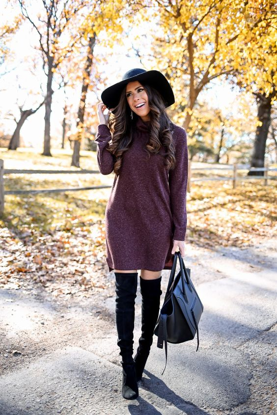 sweater dress and OTK boots with a hat