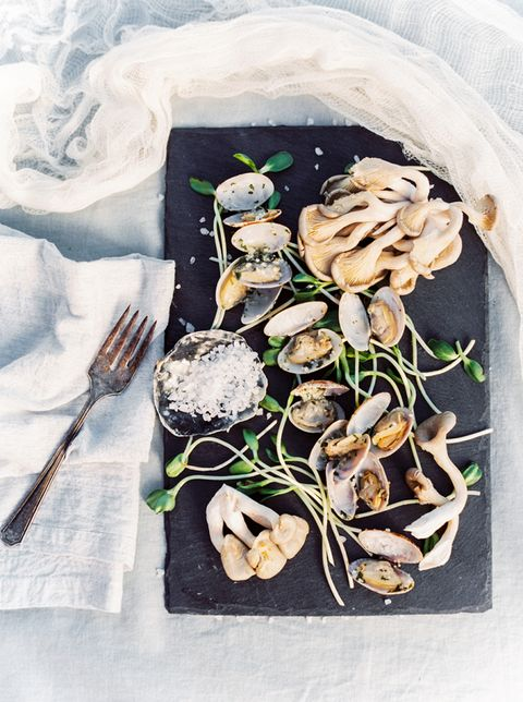mussels and greenery is a great combo for a winter coastal wedding