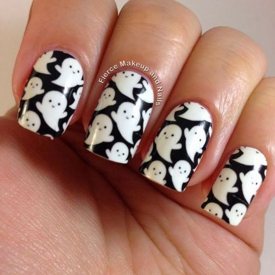 black and white ghost nail art