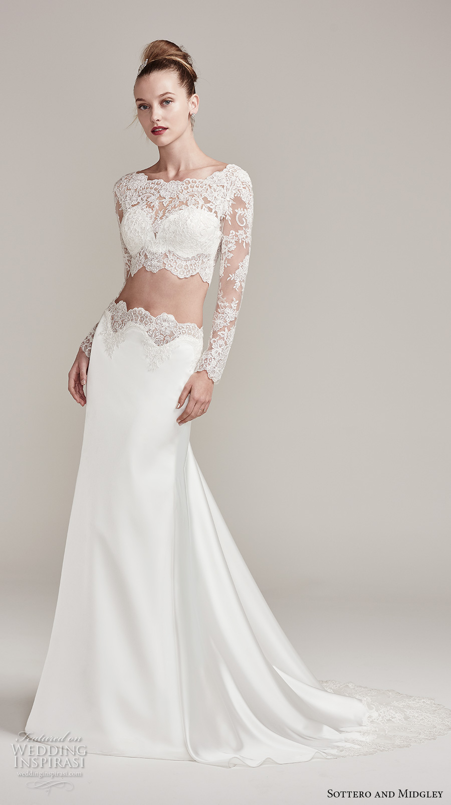 sottero midgley fall 2016 bridal long sleeves bateau neckline lace crop top 2 piece satin skirt sheath wedding dress lace back sweep train (fiona) mv
