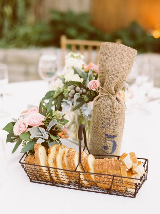 wire baskets may be used for serving food, for example, bread