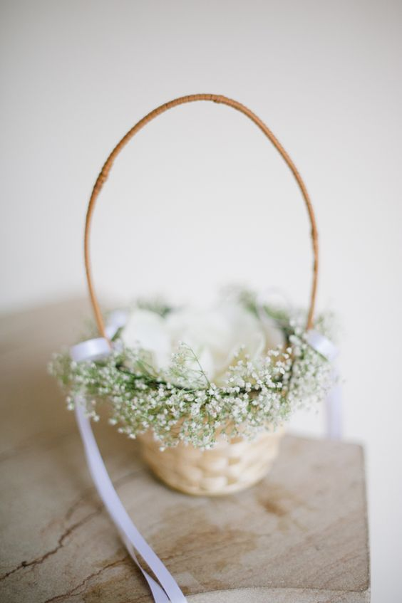 flower girl basket decorated with baby