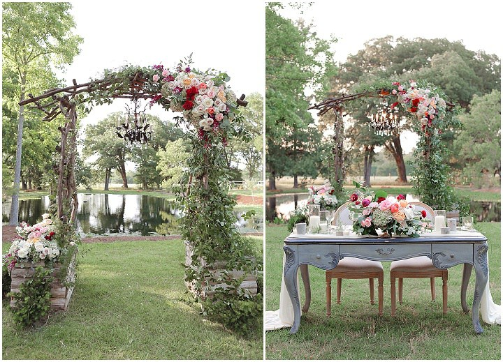 The wedding setting is done with vintage touches and lush summer flowers