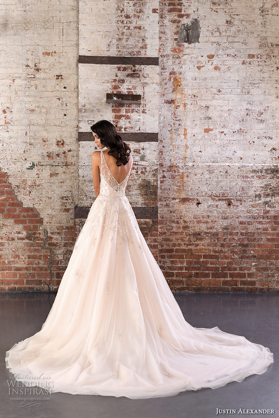 justin alexander spring 2017 bridal sleeveless illusion bateau neckline sweetheart deep plunging neckline pretty romantic a line wedding dress v back chapel train (9848) bv