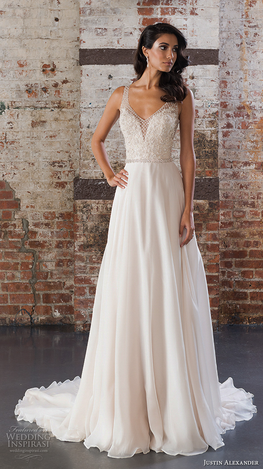 justin alexander spring 2017 bridal sleeveless v neck heavily embellished bodice flowy skirt romantic modified a line wedding dress v back chapel train (9849) mv