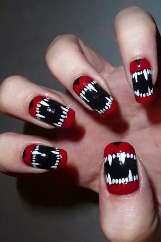 spooky monster nails with teeth