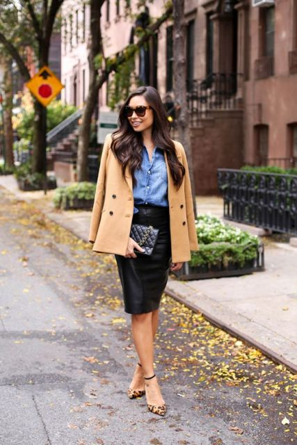 With pencil skirt, denim shirt and leopard shoes