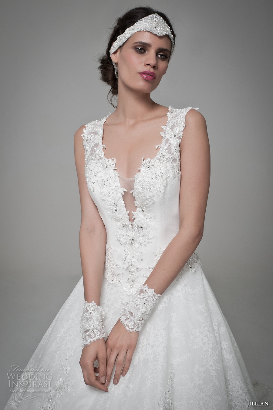 jillian 2017 bridal sleeveless thicks trap v neck deep plunging neckline sexy princess a line wedding dress lace illusion back royal train (matilde) zv