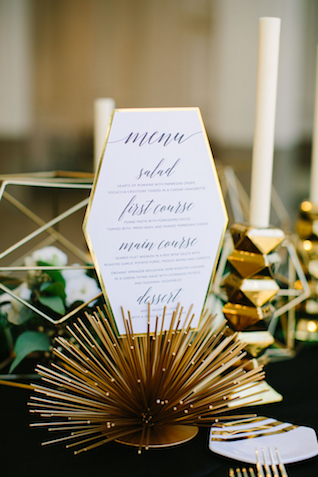 Geometric wedding menu | Sarah Pudlo & Co