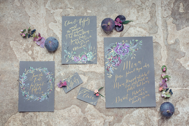 Hand-painted wedding invitations | Tiree Dawson Photography