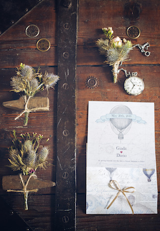 Thistle boutonnieres for a Steampunk wedding | Non Solo Spose