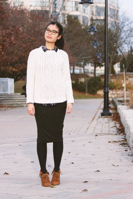 With plaid shirt, white sweater and pencil skirt