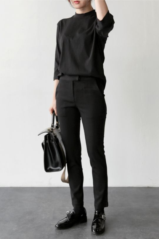pants, a turtleneck and shoes for a unisex look