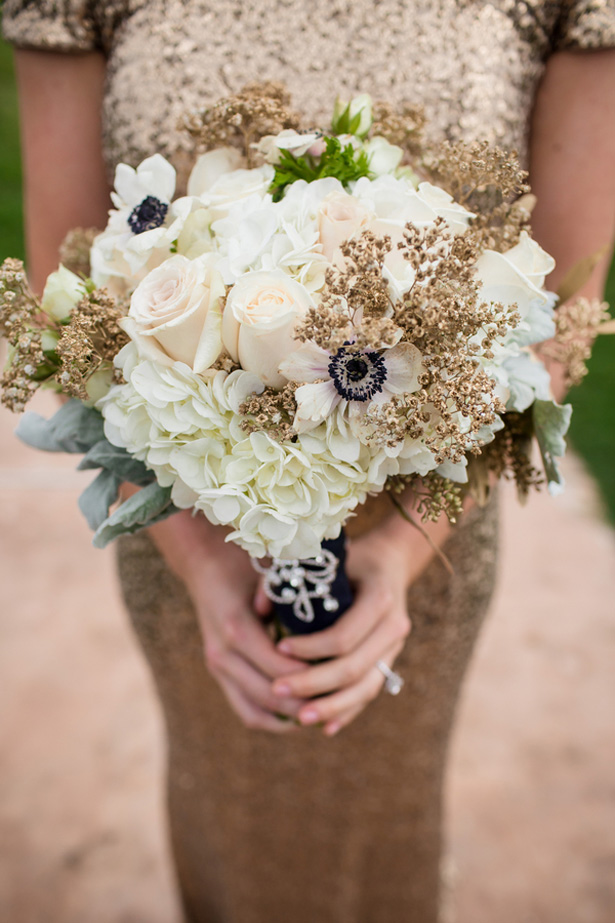 Gold wedding bouquet - Stacy Anderson Photography