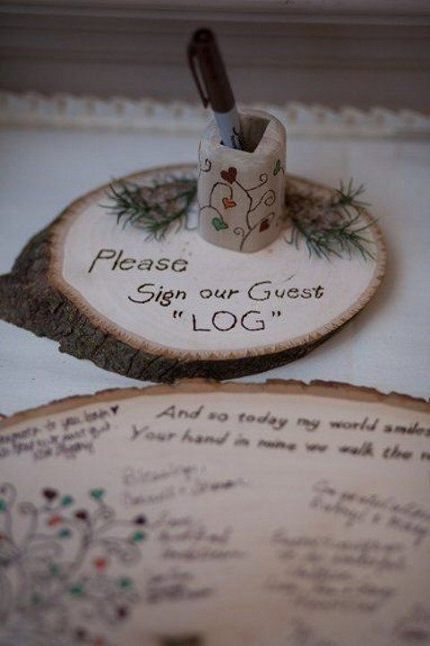guest book on wood slices in a budget-friendly and original idea