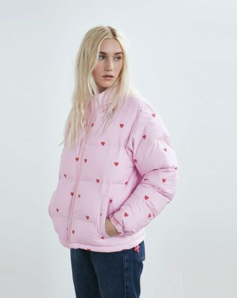 Heart printed light pink puffer jacket with jeans