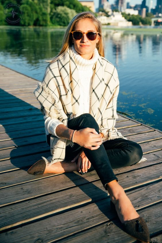 leather leggings, a white turtleneck and flats