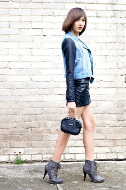 With leather mini skirt, denim jacket and mini bag