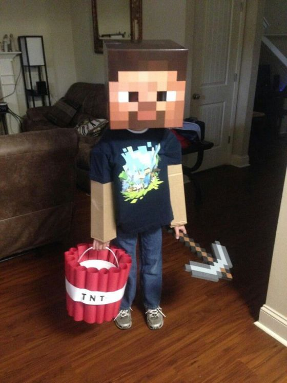 simple Minecraft costume will take you just a couple of minutes to make