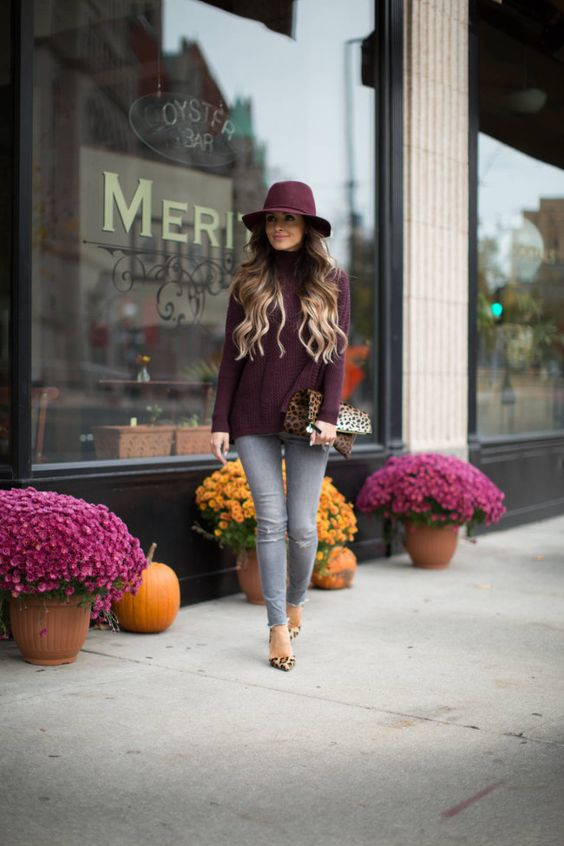 purple sweater, grey jeans and leopard print shoes