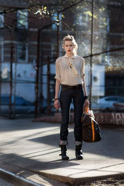 With cuffed jeans and chiffon blouse