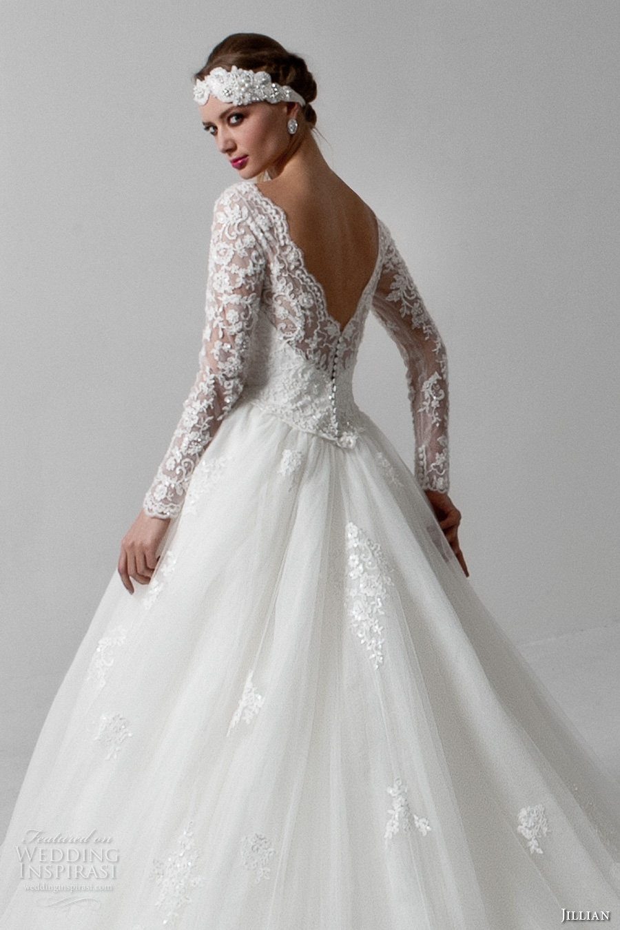 jillian 2017 bridal long sleeves v neck heavily embellished bodice princess a line wedding dress v back monarch train (melody) zbv