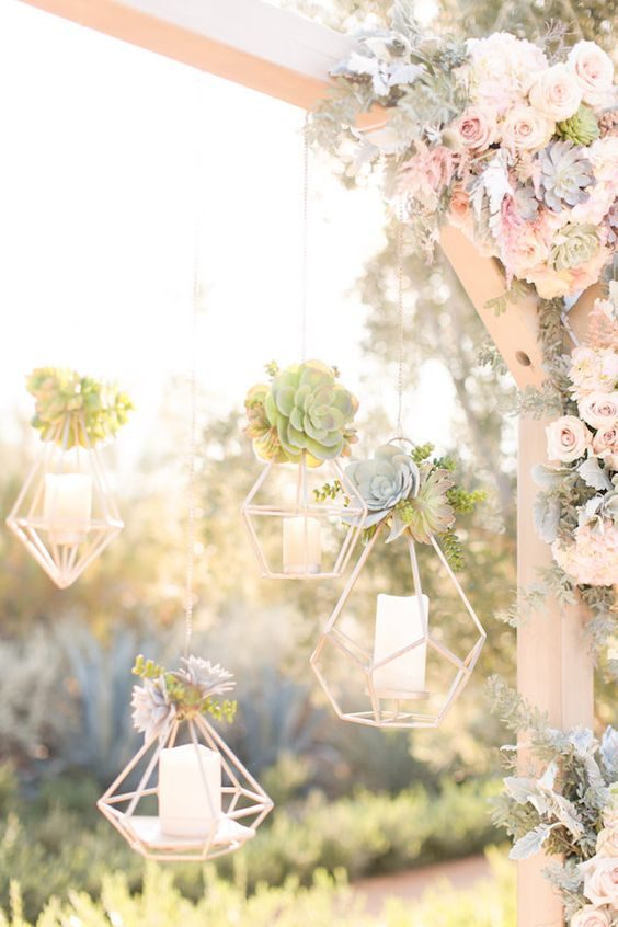 hang such succulent candle holders on your wedding arch