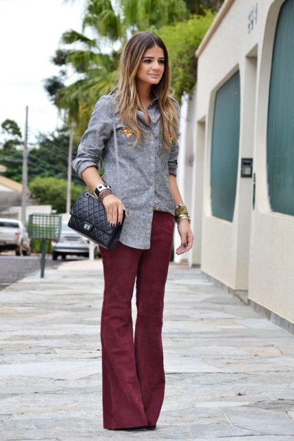 With gray classic shirt and small bag
