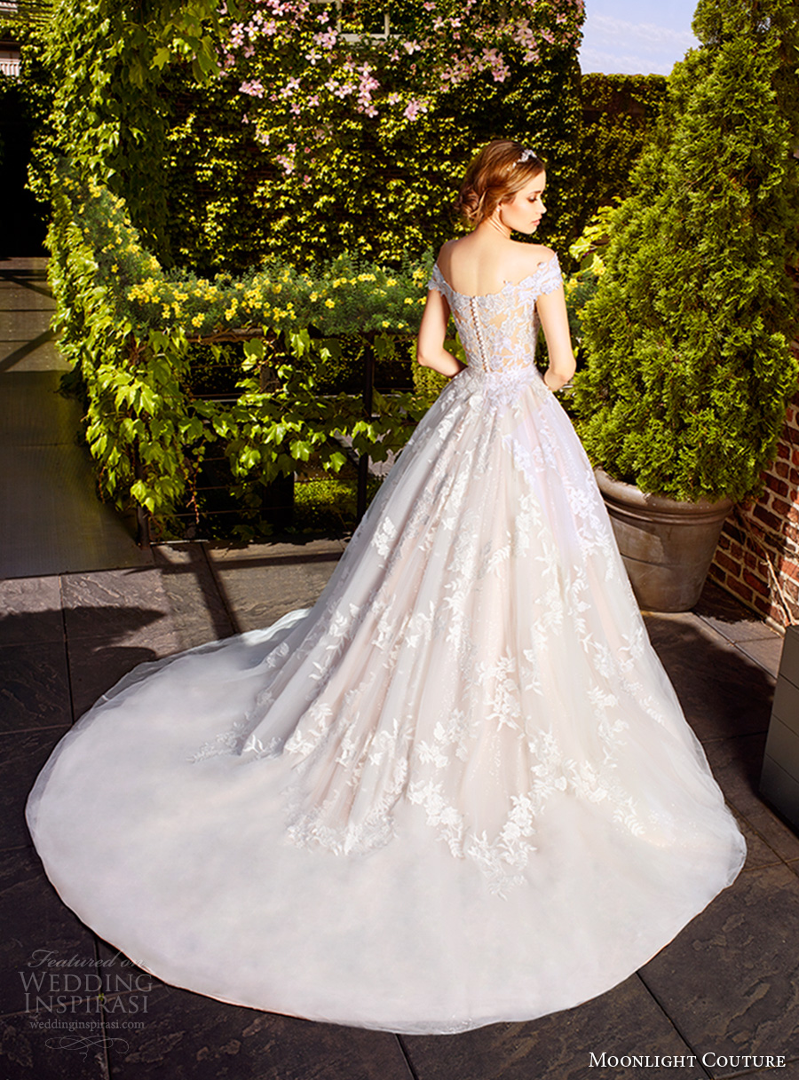 moonlight couture spring 2017 bridal off the shoulder heavily embellished bodice gorgeous romantic princess a line wedding dress lace back chapel train (h1323) bv