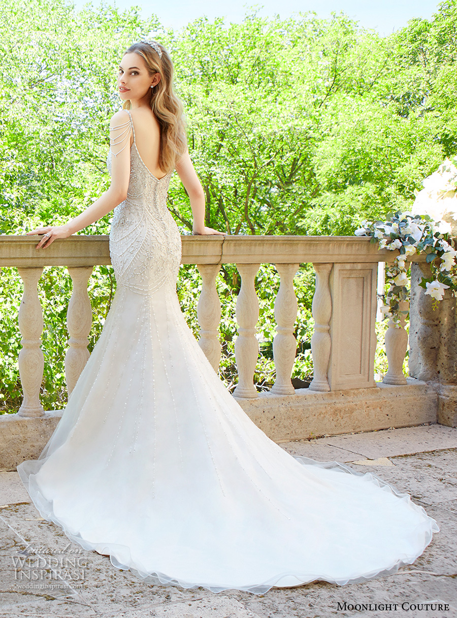 moonlight couture spring 2017 bridal sleeveless spagetti strap scoop neckline heavily embellished bodice tulle skirt elegant fit and flare wedding dress chapel train (h1325) bv
