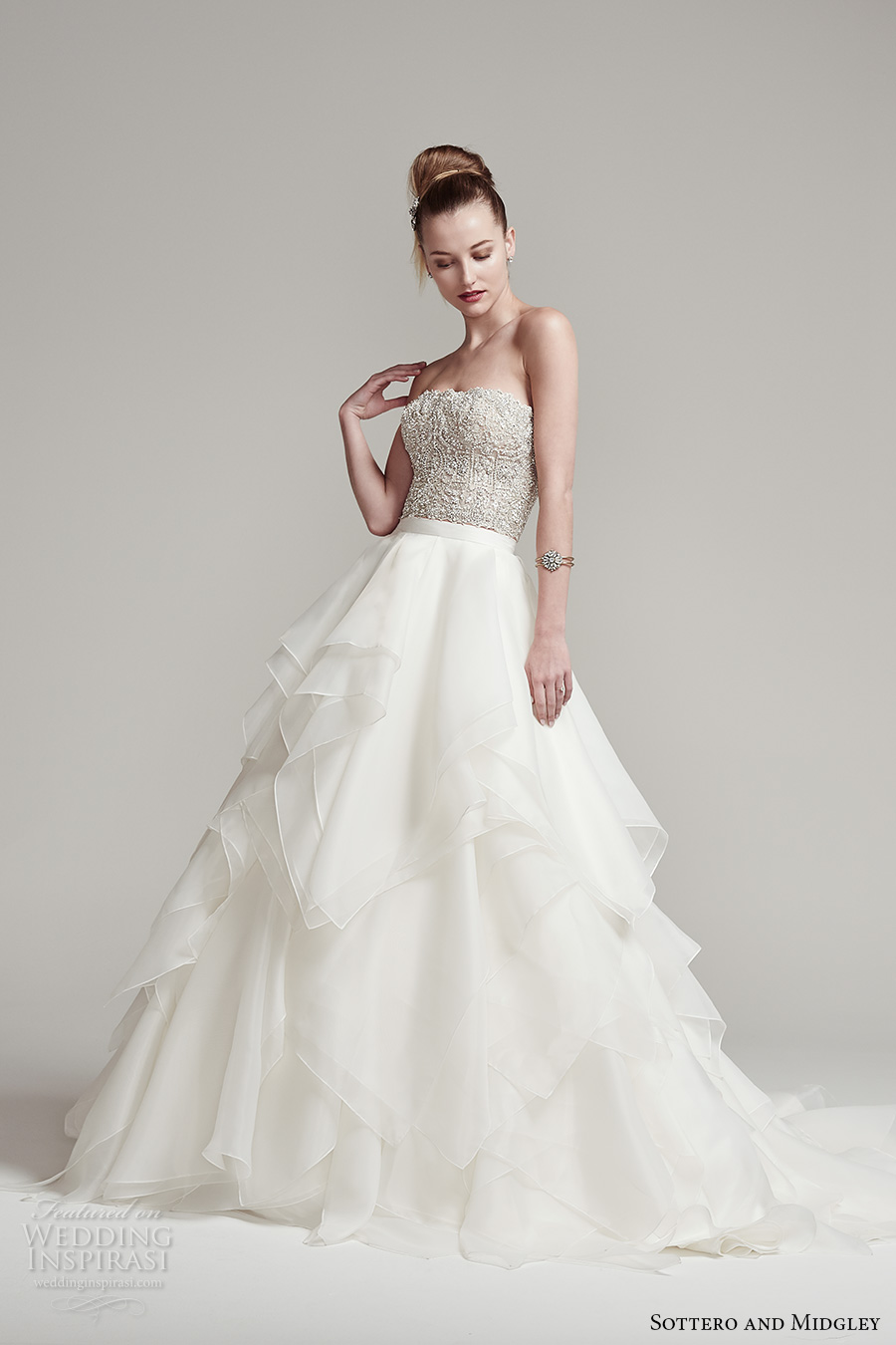 sottero midgley fall 2016 bridal strapless straight across neckline beaded heavily embellished bodice crop top tiered skirt a line wedding dress sweep train (rosella top blythe skirt) mv