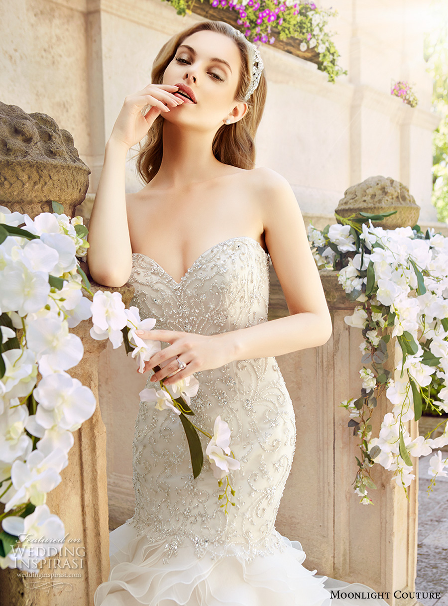 moonlight couture spring 2017 bridal strapless sweetheart neckline heavily embellished bodice tiered skirt glamorous mermaid wedding dress chapel train (h1327) zv