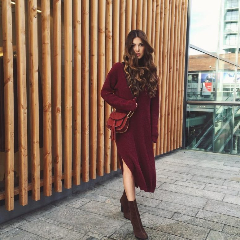 burgundy sweater dress, brown suede boots and a red bag