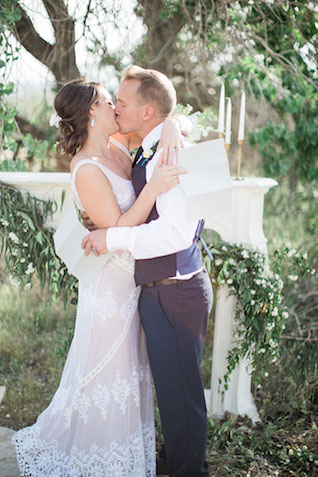 Outdoor fireplace wedding ceremony | Ashley Burns Photography