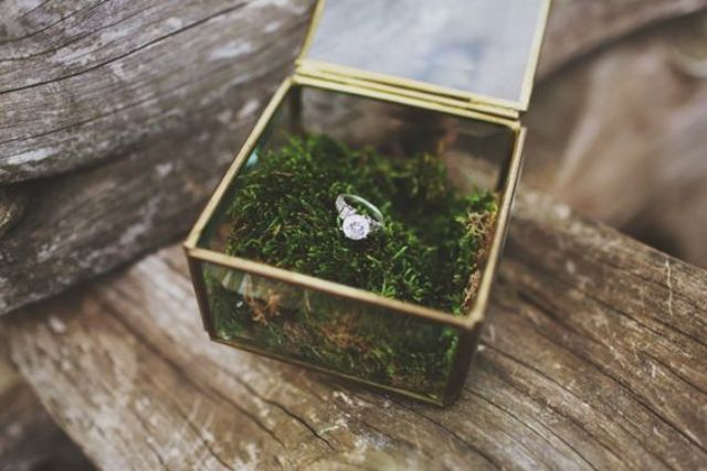 fill the ring box with moss to highlight your wedidng theme