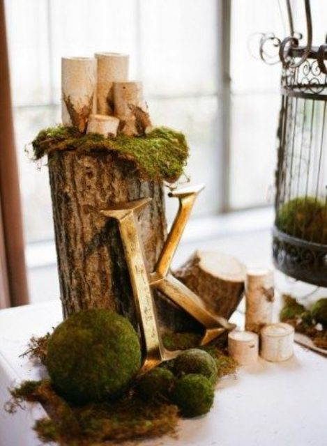 moss and moss balls with wood logs and candles for decor