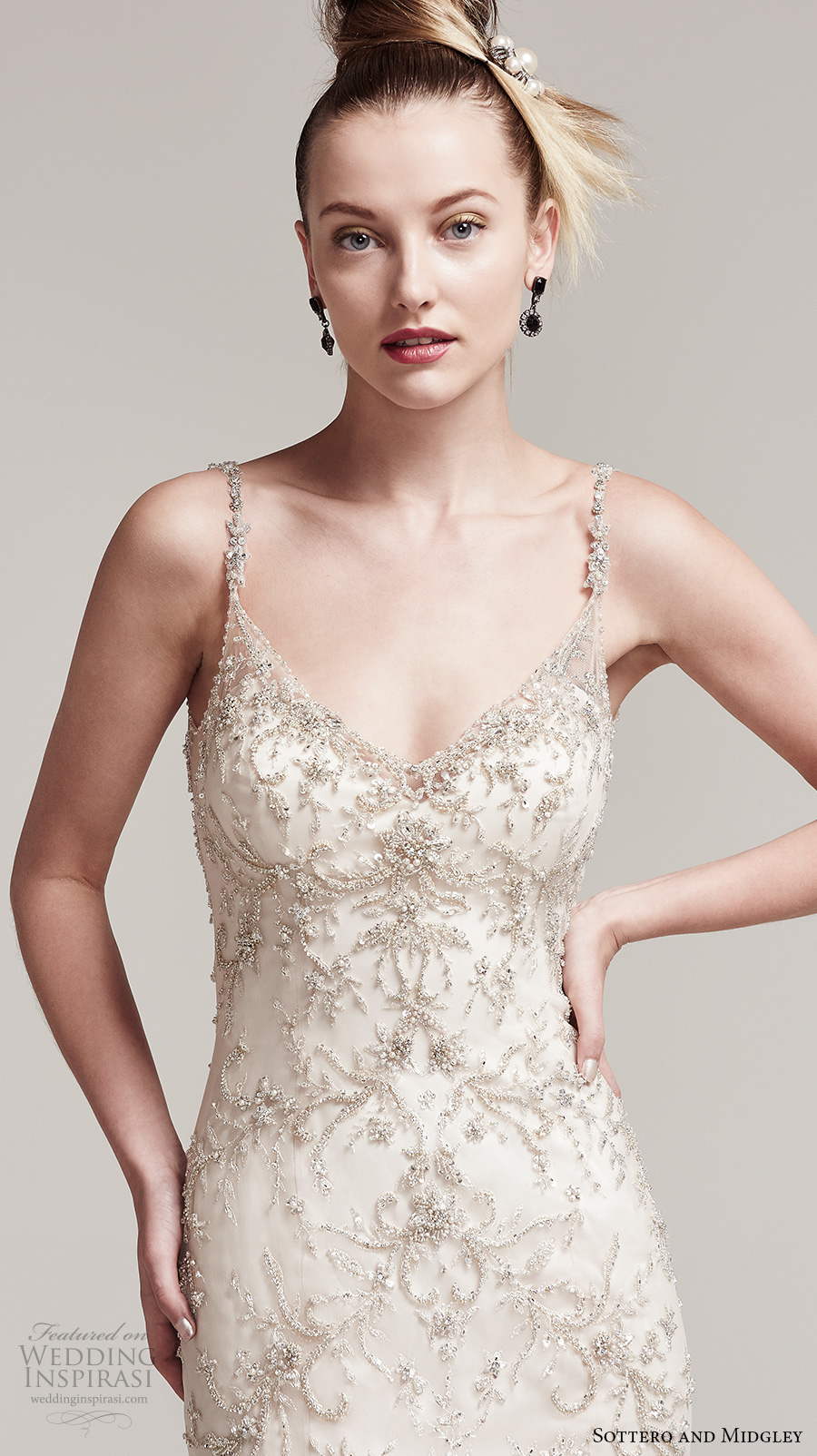 sottero midgley fall 2016 bridal sleeveless spagetti strap v neck heavily embellished bodice elegant glamorous fit and flare wedding dress open back chapel train (erin) zv