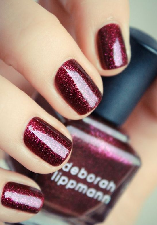 glitter dark red nails