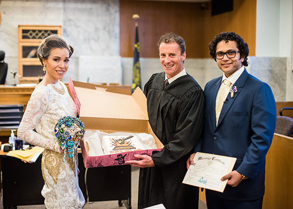 courthouse wedding civil ceremony portland oregon real bride inspiration jessica chintan gold jewel colors fun weddings powers studios photography (15)