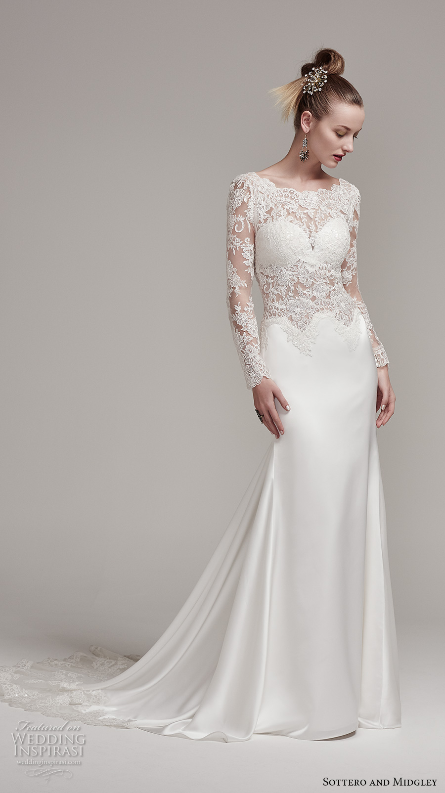 sottero midgley fall 2016 bridal long sleeves bateau neckline heavily embellished bodice satin skirt elegant sexy sheath wedding dress illusion back sweep train (fiona rose) mv